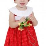 vestido de bebe vermelho poa com branco