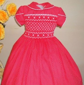 vestido de bebe vermelho ponto smock