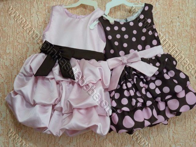 vestido infantil marrom e rosa balone