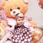 vestido poa rosa e marrom