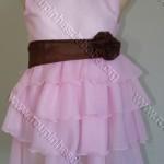 vestido rosa bebe com laco e babados