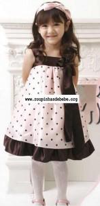 vestido rosa bebe com marrom poa