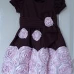 vestidos rosa e marrom flores
