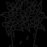 Flores no vaso para pintar