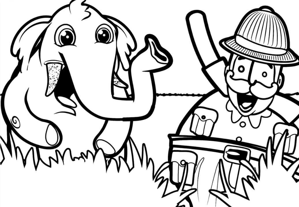 Bita e o elefante para colorir