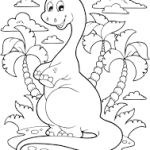 Braquiossauro fofo para colorir