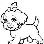 Cachorro com lacinho para colorir