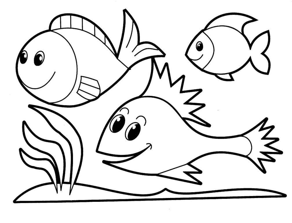 Cardume de peixinhos para colorir