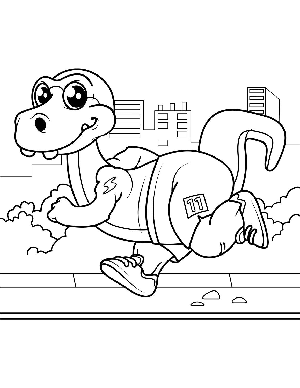 Dinossauro atleta para colorir