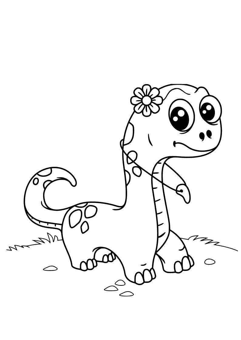 Dinossauro bonito para colorir