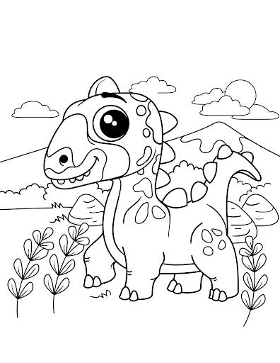 Dinossauro na floresta para colorir