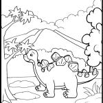 Dinossauro na floresta para pintar