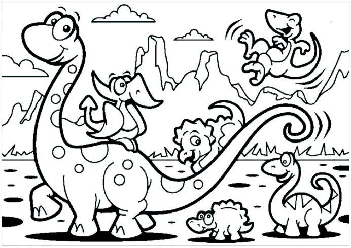 Família Dinossauro para colorir