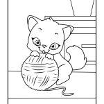 Gato com bola de linha