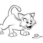 Gato e rato para colorir