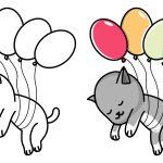 Gato voando com balões