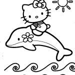 Hello Kitty e golfinho para colorir