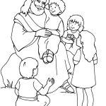 Jesus e as crianças para colorir