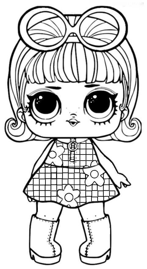 LOL de vestido xadrez para colorir