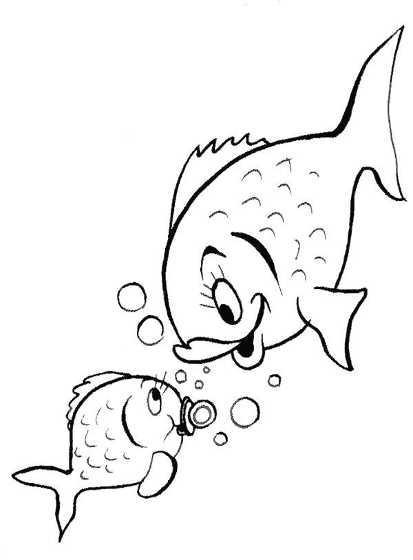 Mamãe e bebê peixe