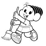 Mônica com a vassoura