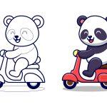 Panda andando de moto