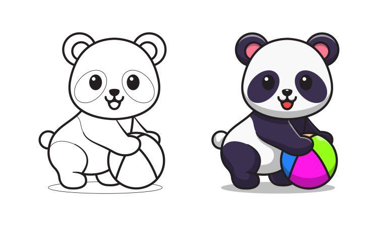 Panda brincando com bola