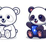 Panda com telefone