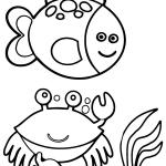 Peixinho e carangueijo