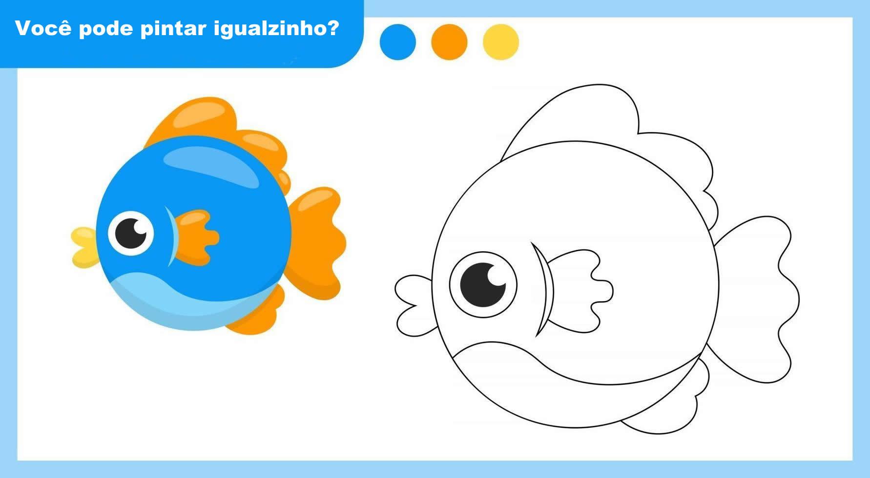 Peixinho para colorir com modelo