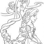 Rapunzel com tranças para colorir