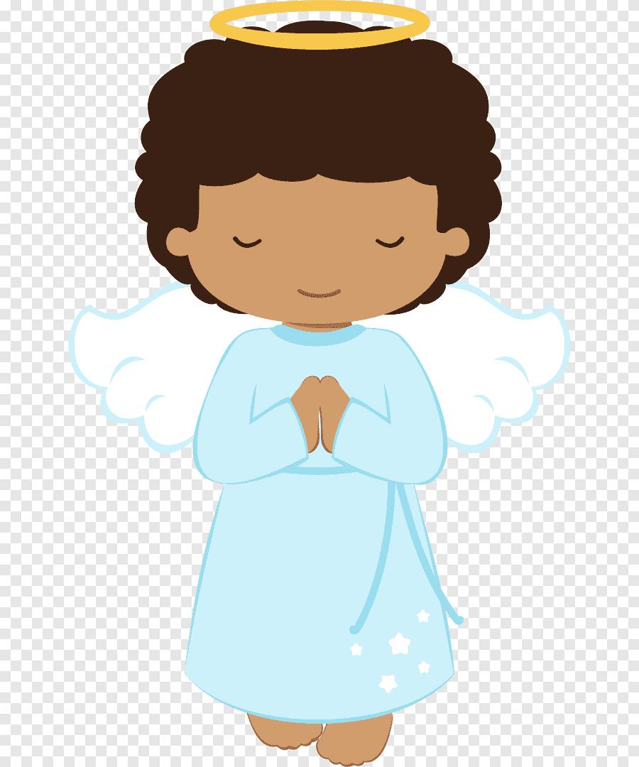 Topo de bolo menino anjo para batizado