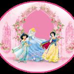 Topo de bolo rosa princesas