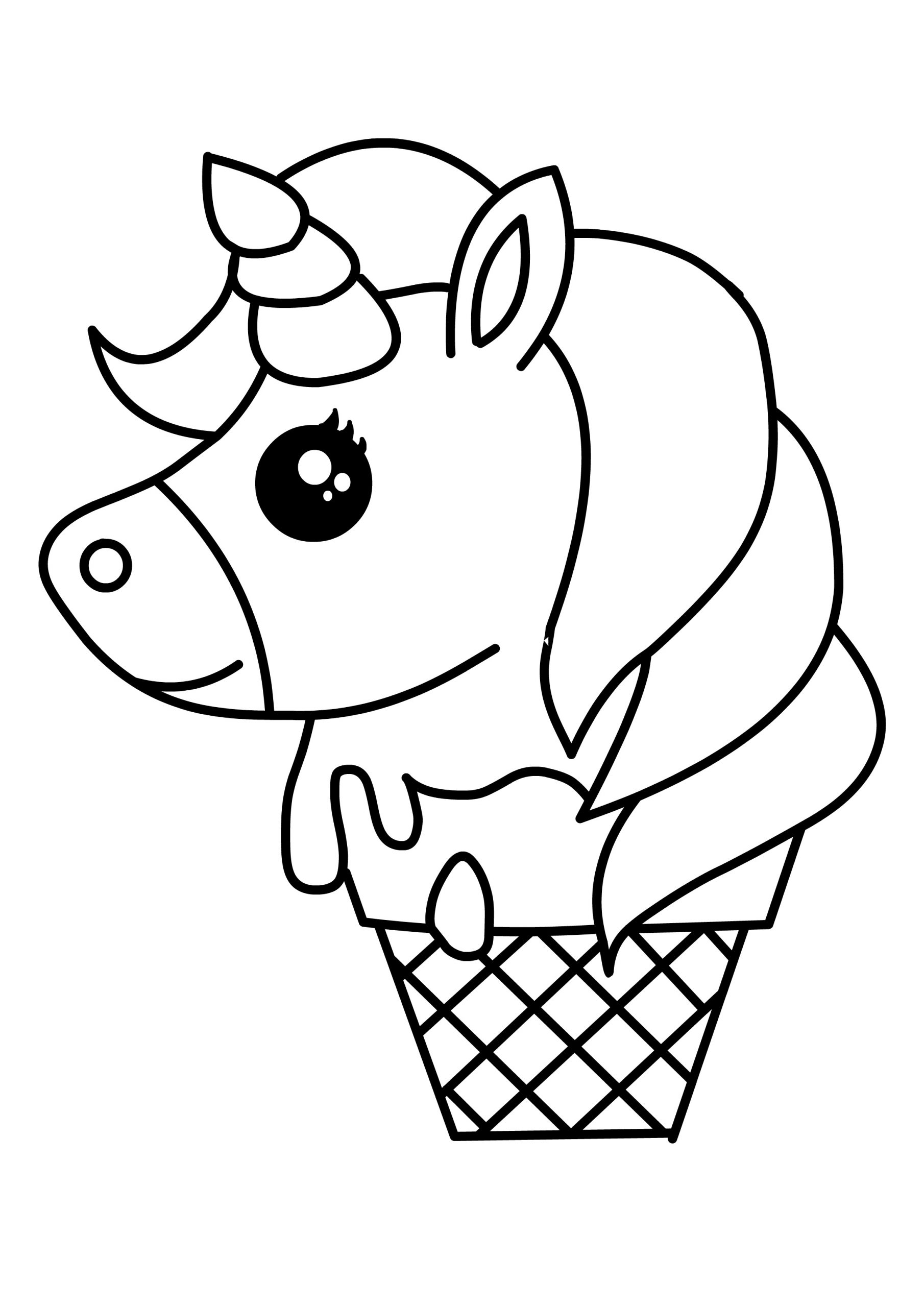 Unicórnio no sorvete para pintar