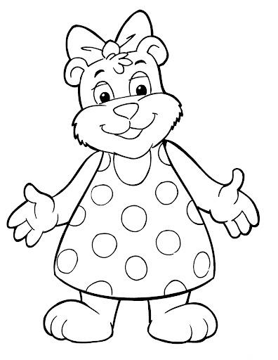 Ursinha com vestido para colorir