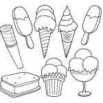 Vários sorvetes para pintar
